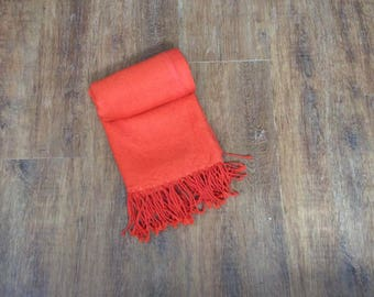 Handmade 100% Linen Orange Pashmina Scarf Shawl Bridesmaid Fringed Shawl