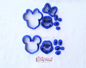 Minnie Mouse Face Cookie Fondant Cutter,Minnie Mouse Cake Cup Topper,Mickey Mouse Cake Cup Topper, Mickey Mouse Face Cookie Fondant Cutter