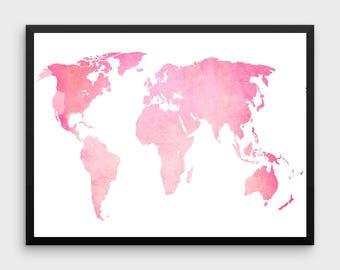 Pink world map  Etsy