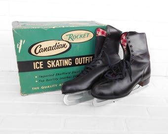 Vintage Canadian Rocket Mens Ice Skates, Leather Ice Skates, Sheffield Blades, Men's Size 11 Ice Skates
