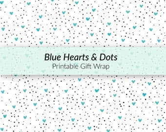 Printable Hearts and Dots Gift Wrap - Father's Day gift wrap, baby boy gift wrap, hearts gift wrap, dotted gift wrap, hand-drawn gift wrap