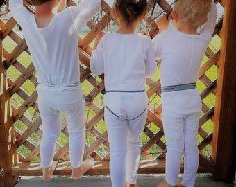 Size 8, 9, 10 Long Underwear Union Suit One Piece Boy Girl White