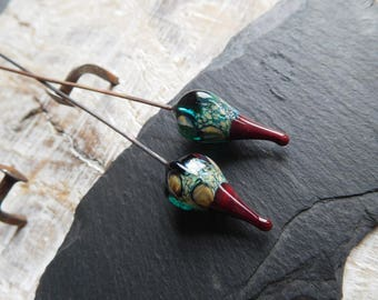 Tribal spikes, lampwork headpins, ethnic style, Teal and dark red, handmade.