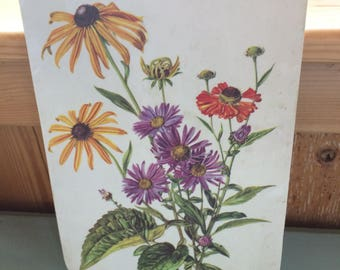Vintage Floral Laminate Cutting Board, Wall Hanging