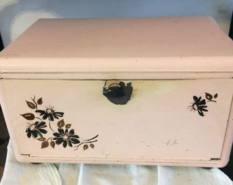 Vintage Pink Aluminum Bread Box, Retro Kitchen