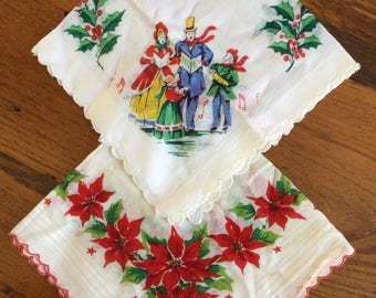 SHIPS FREE!! Pair of Vintage Christmas Handkerchief Hankies