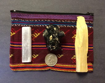 Grounding And Protection Bundle Includes Black Tourmaline , Selenite And Palo Santo In A Colorful Crystal Pouch