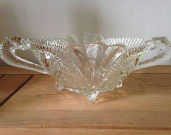 Art Deco Fruit Bowl, Large Fruit Bowl, Art Deco Bowl, Art Deco Glass Centrepiece, Brockwitz Glass, Brockwitz, German Glass Bowl, Serpent