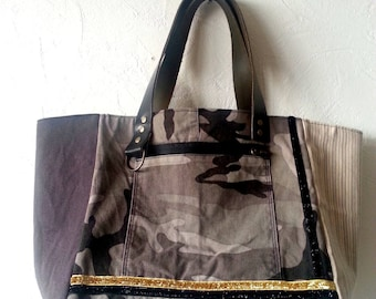 Khaki tote bag, camouflage faux