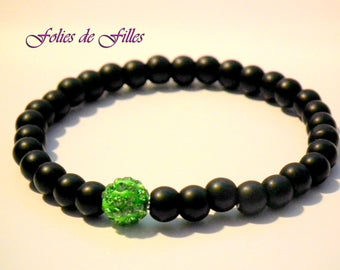 Crystal bracelet matte black and green shamballa bead