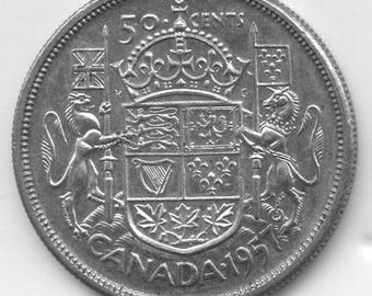 1957 Canadian 50-Cents Silver