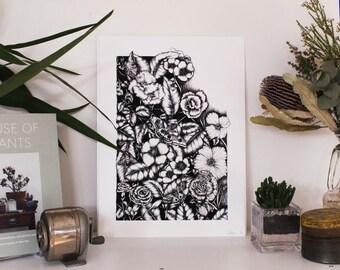 Overgrown Illustration | Giclee print | Large | A3 | Wall art | Botanical print | Interior decoration | Home Decor