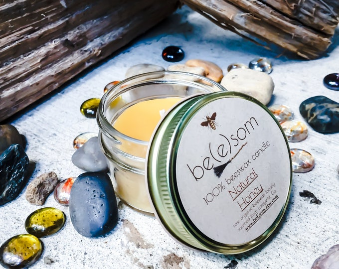 100% Pure Unscented Beeswax 3oz jar candle. Natural Honey Scent.