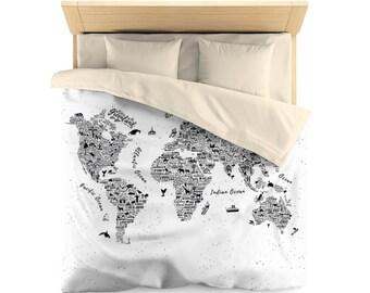 World map bedding etsy world map duvet world map duvet cover world map bed cover world map gumiabroncs Images