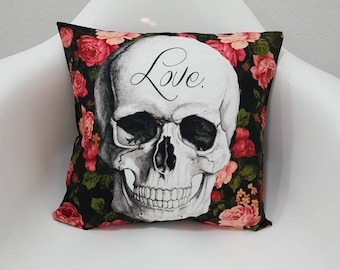 Popart Decorative Cushion Covers Roses and Skull Printed Pillow Case 17x17