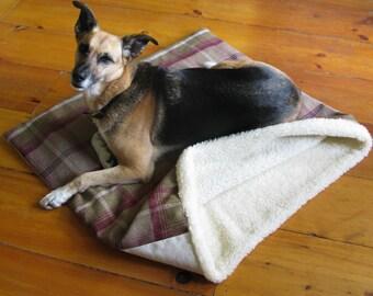 Reversible Plaid Dog Snuggle Sack/Snuggle Pod/Warm Dog Bed/Dog Fleece Blanket/Burrow Bed/Dog Tunnel Bed/Dog Sleeping Bag/Dog Bed for the Car