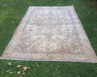 """Vintage Rug,Cappadocia Carpet,Rugs,Vintage Turkish Rug,Home Office Rug,Designer Rug,Turkish Rug,Home Decor 9'28""""x6'10""""ft, 283x186 cm"""