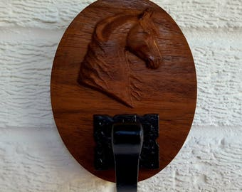 Wooden Carved Horse Head Cast Iron Robe Coat Dressing Gown Hanger Hook - Dark Wood