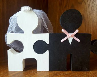 Custom Cake Topper Wooden Bride & Groom Mr And Mrs Jigsaw Pieces Wedding Cake Topper or Table Decoration Or Center Piece