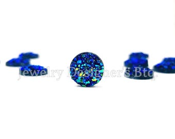 8mm Iridescent Faux Druzy Cabochons Resin Kawaii Cabochon Glitter Embellishments Jewelry Supplies Earring Components Ring Findings