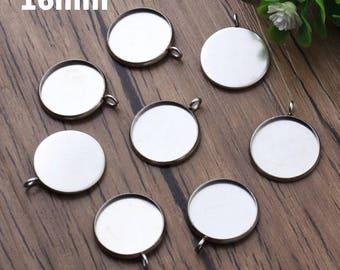 10pcs, 16mm Hypoallergenic Stainless Steel Cabochon Settings, 16 mm Bezel, Cabochons Jewelry, Pendant Charm Blanks, Jewellery Supply