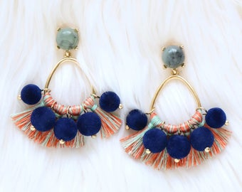 Pom pom earrings, tassel earrings, beaded tassel earrings, statement earrings, blue earrings, earrings pompom, tassel, statement jewelry