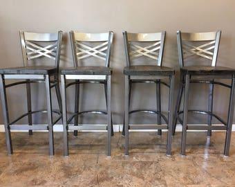 Reclaimed Bar Stool| Set of 4 | In Gun Metal Gray Metal Finish | X Back Metal | Restaurant Grade -30 Inch High Barstool