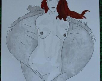 """dessin nu féminin erotique portrait """"Sans retenue"""""""
