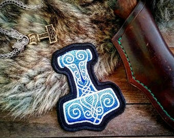 Blue Mjolnir Thor's Hammer VIking Norse Patch Biker Leather Embroidery
