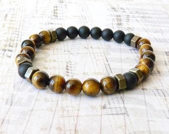 Mens Bohemian Bracelet, Tigers Eye Bracelet, Tribal Rustic Boho Bracelet, Hipster Bracelet, Beaded Bracelet, Elastic Bracelet, For Boyfriend