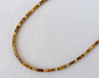 Tiger Eye Necklace, Men Necklace, Stone Necklace, Brown Necklace, Elegant Necklace, Surfer Necklace, Southwestern Jewelry, Boyfriend Gift