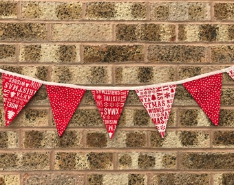 Christmas Bunting Red & White Merry Christmas Spotty