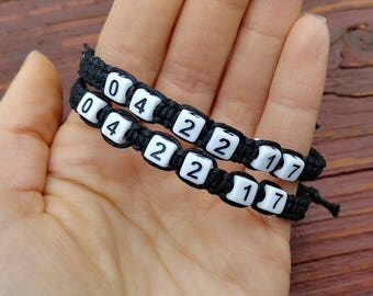 Anniversary Bracelet, Important Date Bracelet, Couples Bracelet, Birthday Bracelet, Number Bead Bracelet, Boyfriend Girlfriend Bracelet Set