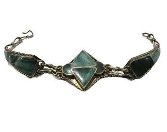Vintage Hand Made Native Artisan Silver & Aventurine Inlay Bracelet