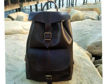 Brown Leather Backpack from 100 % Full Grain Leather