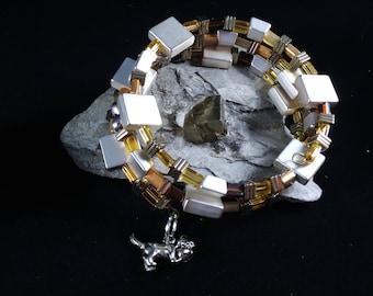 Wrap bracelet with metal & glass beads
