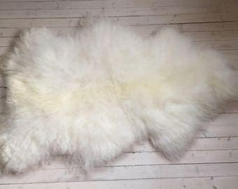 White long haired large sheepskin rug spael sheep throw 17229