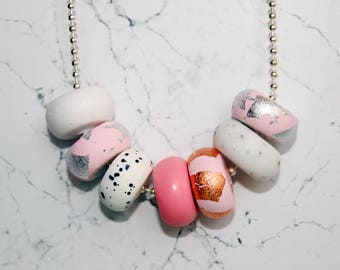 Pink & Metallic Handcrafted Polymer Clay Necklace