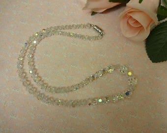 Vintage Crystal Necklace, AB Necklace, Aurora Borealis Necklace, Glass Necklace, Faceted Crystal Necklace,