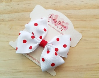 Girls Red and White Polka Dot Bow, Red and White Bow, Girls Hair Bow, Girls Bow, Toddler Bow, Polka Dot Bow, Girls Hair Clip, Girls Barrette