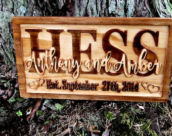 Personalized Carved Wedding Sign - 5 year Anniversary Gift - 5th Anniversary Gift for Her - Established Name Plaque - Custom Heart Name Sign