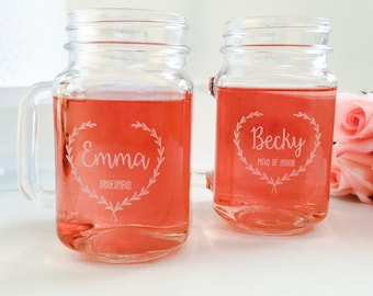 Mason Jar Drinking Glass, Bridesmaid Gift, Bridesmaid Glasses, Mason Jar Drinking Favors, Will You Be My Bridesmaid, Rustic Wedding Favor