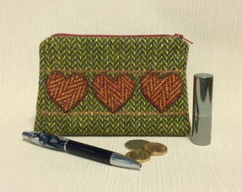 Welsh tweed zipped coin purse/change purse in green & yellow with orange appliqued hearts