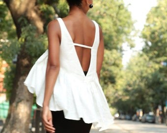 Linen Tank Top, Linen Tank, White Linen Top, Linen Tunic, Summer Linen Top, White Crop Top, Linen Blouse, White Summer Top, Linen Boho Top