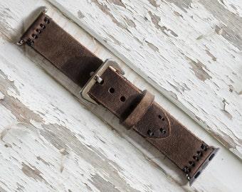 VIN. N Apple Watch Strap - pleine fleur huilé Style cuir / classique