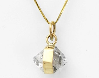 Herkimer Diamond Quartz Pendant set in 14K Gold Herkimer Diamond Necklace Fine Handmade Jewelry