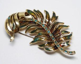 Monet Rhinestone Palm Branch Leaf Pin - Burnished Gold Tone - Teal Rhinestones & Iridescent Enamel Curled Leaves - Vintage 1980s 1990s Retro