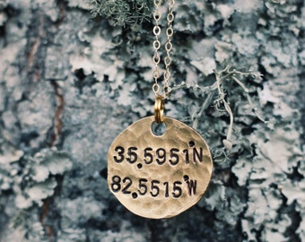 Custom Coordinate Necklace, Longitude Latitude Necklace, Coordinate Jewelry, Travel Jewelry, Personalized Coordinates, Dainty Gold Necklace
