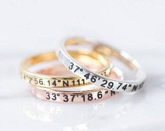 Coordinates Ring – Personalized Latitude Longitude Ring - Coordinates Engraved Ring – Coordinates Jewelry - Location Ring
