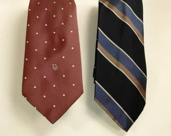 Set Of 2 Christian Dior Men's Ties/Neckties/Maroon With White Dots And Strips With Blues, Gray And Brown/Great Used Condition (T)